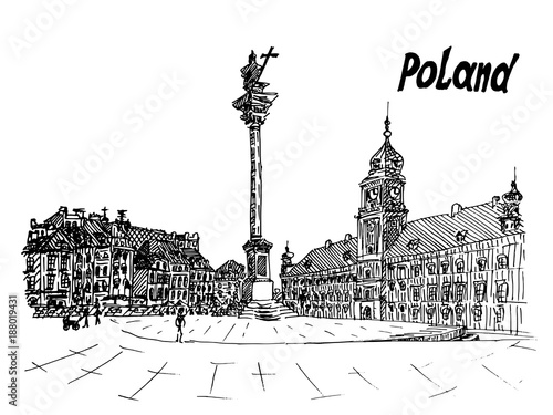 Polska - plakaty   black-and-white-postcard-polish-sketch-style
