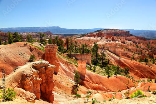 Papiers peints Orange eclat Red hoodoo and green pine tree landscape of Bryce Canyon National Park