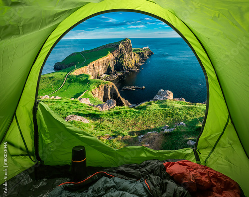 Cliffs and sea seen from tent, Isle of Skye, Scotland