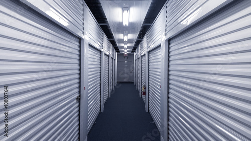 Fototapeta Interior metal storage units. Straight lines 3d perspective. obraz