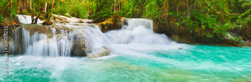 Tat Kuang Si Waterfalls. Beautiful panorama landscape. Laos. - 188039235