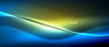 Neon Glowing Wave, Magic Energ...