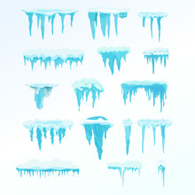 Set Of Winter Snow Icicles, Snowballs. Christmas Snowflakes, Decorations, Snowdrift.