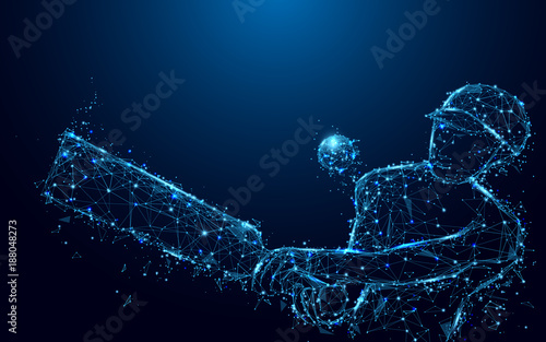 Fotomural Abstract batsman playing cricket from form lines and triangles, point connecting network on blue background