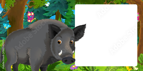 Cartoon scene with happy wild boar standing in the forest - with space for text - illustration for children