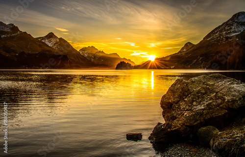 Poster Bergen Mountain lake sunset landscape