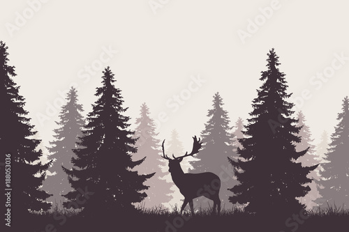 forest with silhouette of a fallow deer © Forgem