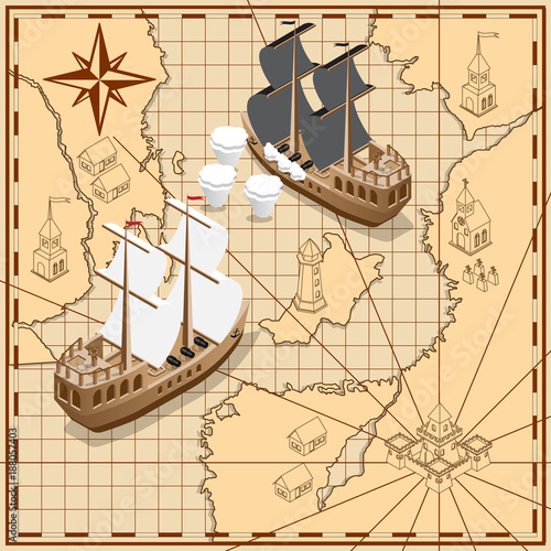Photo Sailing ship on the background of old maps