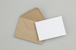 canvas print picture - Blank white card with kraft brown paper envelope template mock up