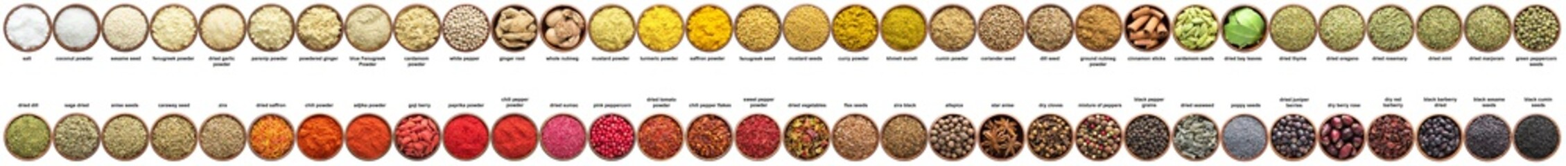 large set of spices isolated on white. collection Seasonings in cups