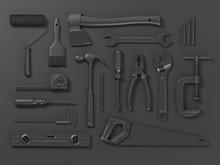 Set Of Of Black Tools On Black Background. Mock Up. With Paths 3d Illustration