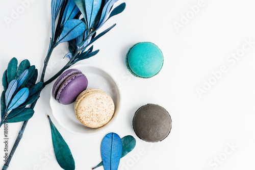 Top view flat lay colorful macarons and blue leaves on white table. Creative dessert concept