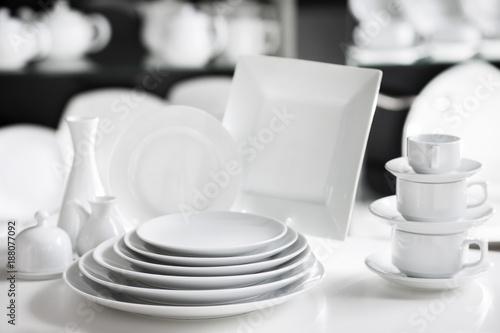 Fotografie, Obraz  Hotel restaurant white dishes assortment