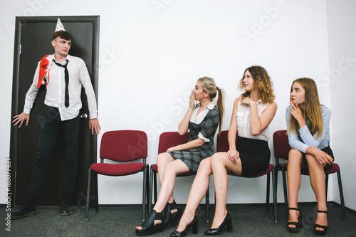 sexual coercion at work awkward moment concept Canvas Print