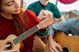 Guitar and ukulele string musical instruments. Music art style culture. Equipment tuning