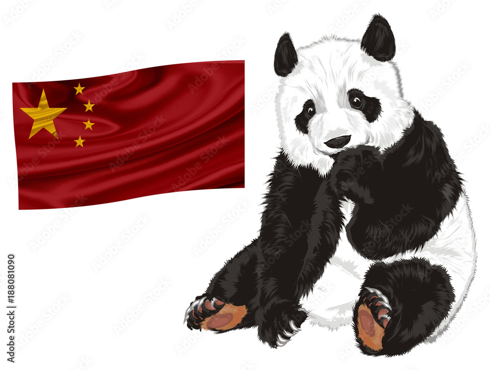 panda, bear, animal, China, zoo, bamboo, illustration, cartoon, toy, nature, cute, sit, Asia, red, flag