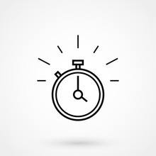 Fast Time Stop Watch, Limited Offer And Deadline Concept, Vector Line Icon
