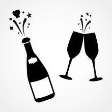 Champagne Bottle And Two Glasses Black Silhouette Icons. Simple Vector Illustration.