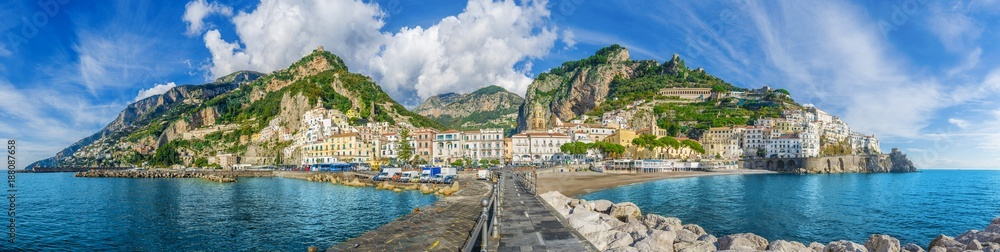 Fototapeta Beautiful panorama of Amalfi, the main town of the coast on which it is located taken from the sea. Amalfi situated in province of Salerno, in the region of Campania, Italy, on the Gulf of Salerno.