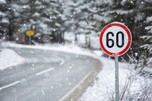 Mountain Winter Road With A Sp...