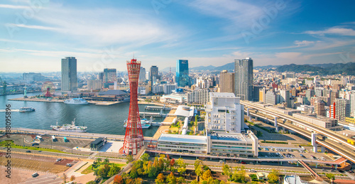 Fotografia  Skyline and Port of Kobe in Japan