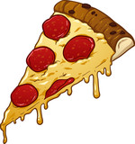 Slice of pepperoni pizza. Vector clip art illustration with simple gradients. All in a single layer.  - 188096235