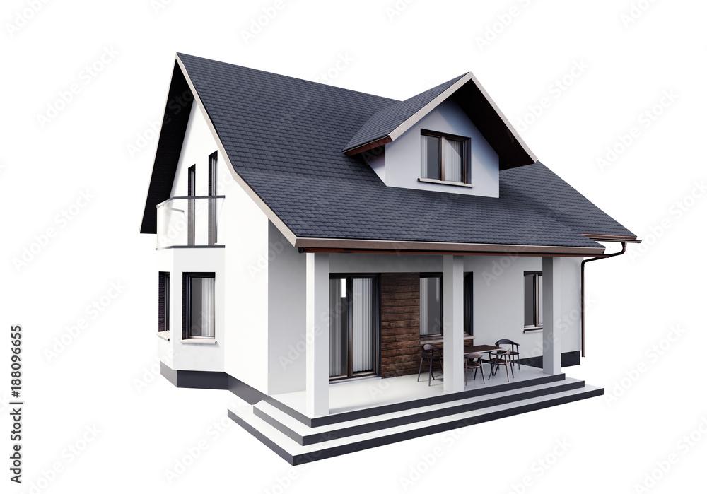 Fototapeta House 3d modern style rendering on white background.