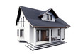 House 3d modern style rendering on white background.