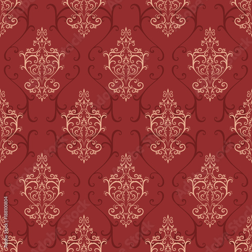 Red seamless pattern in retro style.