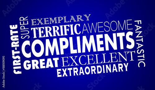 Fotografía  Compliments Word Collage Great Excellent 3d Illustration