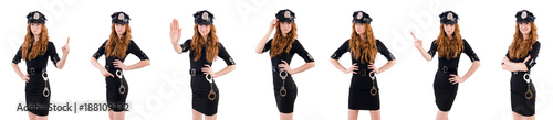 Canvas Prints Art Studio Redhead police officer isolated on white