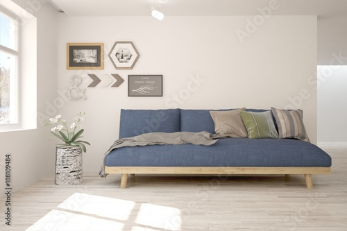 Awe Inspiring Idea Of White Minimalist Room With Blue Sofa Scandinavian Inzonedesignstudio Interior Chair Design Inzonedesignstudiocom