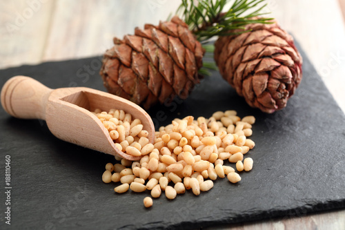 Pine nuts and pine cones