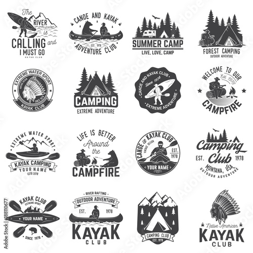 Carta da parati Set of canoe, kayak and camping club badge
