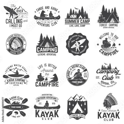 Fotografía  Set of canoe, kayak and camping club badge