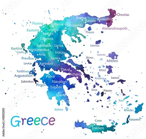 Hand drawn watercolor map Greece Canvas Print