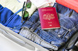 preparation for travel, a suitcase, clothes, jeans, glasses, passport