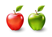 Red Apple And Green Apple, Fru...