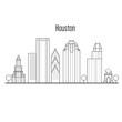 Houston skyline - downtown cityscape, city landmarks in liner style