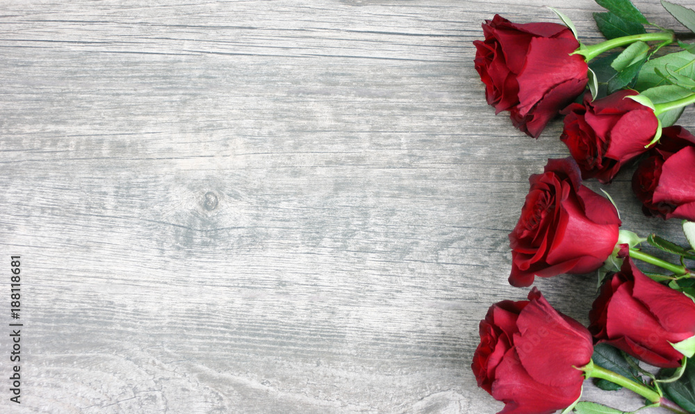 Fototapety, obrazy: Beautiful Red Roses Still Life Over Rustic Wooden Background, Love Concept, Shot From Above