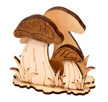 Wooden Toy Mushrooms With Beautiful Grass Isolated On White Background