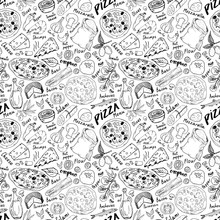 Pizza Seamless Pattern Hand Dr...