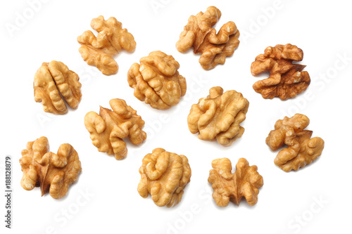 Pinturas sobre lienzo  Walnuts isolated on white background top view