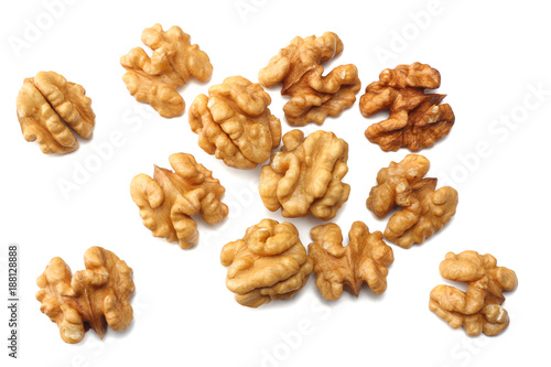 Cuadros en Lienzo Walnuts isolated on white background top view