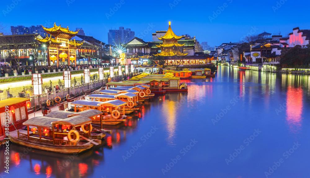 Fototapeta Nanjing Confucius Temple scenic region and Qinhuai River. People are visiting. Located in Nanjing, Jiangsu, China.