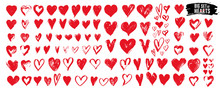 Big Set Of Red Grunge Hearts. ...