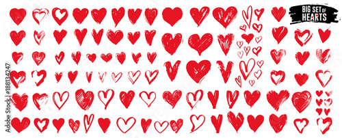 Big set of red grunge hearts. Design elements for Valentine's day. Vector illustration heart shapes. Isolated on white background