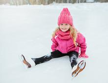 Little Smiling Girl Skate And ...