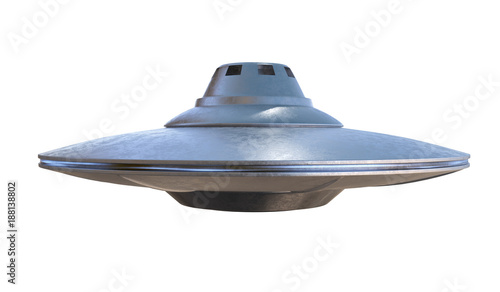 Fotografie, Obraz  UFO - alien spaceship isolated on white background