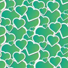 Green Hearts Seamless Pattern